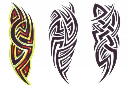 nice colored and black and white tribal designs tattoo