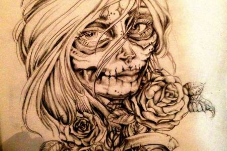 impressive old catrina tattoo