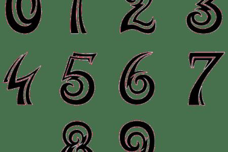 numbers font tattoo design