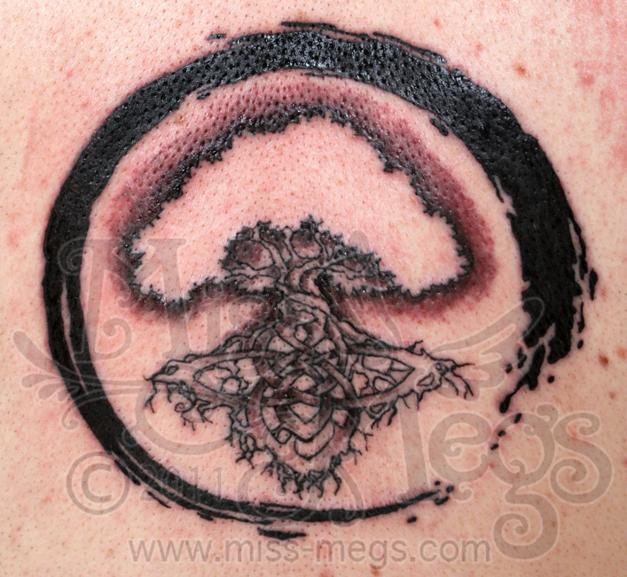 Enso Circle With Celtic Tree Tattoo Design By Miss Megs of 1