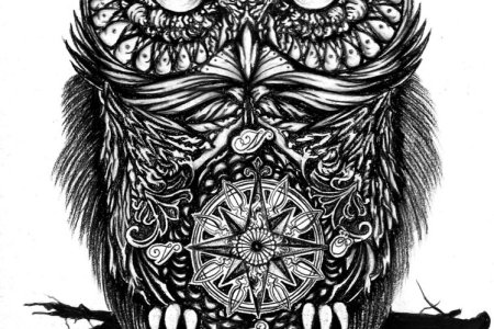 attractive black ink owl tattoo design by yankeestyle94