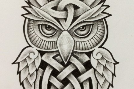 clic celtic owl with half moon tattoo design