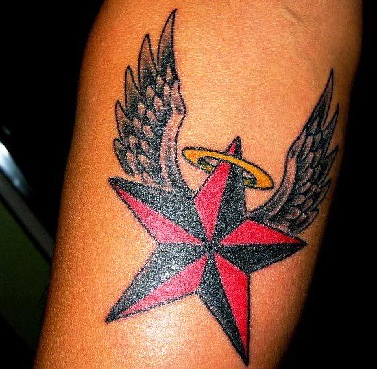 Angel Winged Nautical Star Tattoo - 2018 Tattoos Ideas