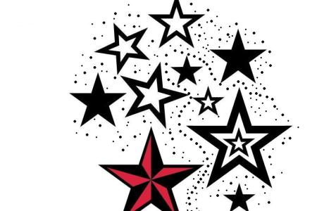 red nautical star and stars tattoos design