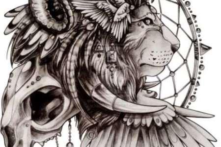 unique lion with capricorn horns dreamcatcher tattoo design