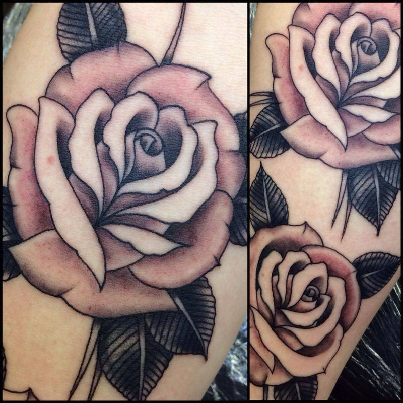 Black Ink Roses Tattoo On Left Half Sleeve of 1 by Veronica