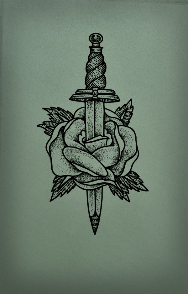 Dotwork Dagger In Rose Tattoo Design of 1 by Deborah