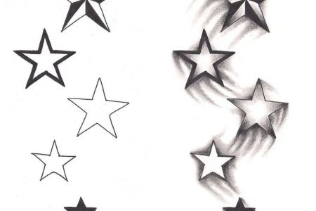 grey ink stars tattoos designs