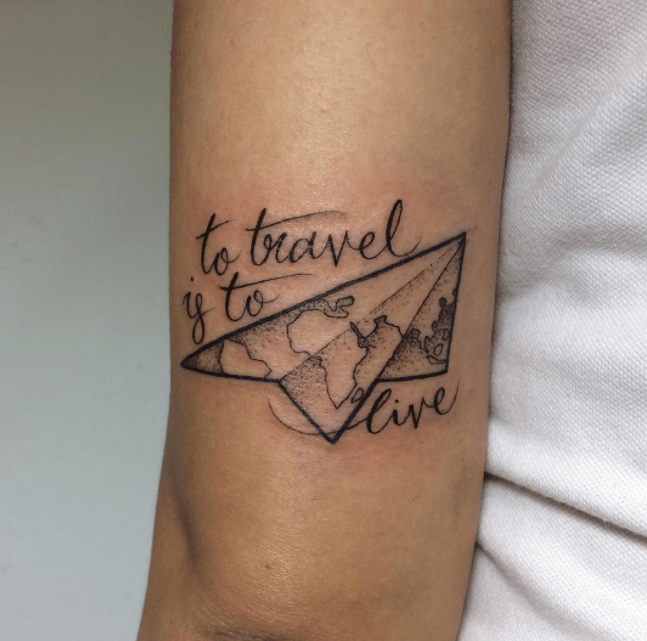 To Travel Is To Live     Amazing Wording   Kite Map Composition Tattoo