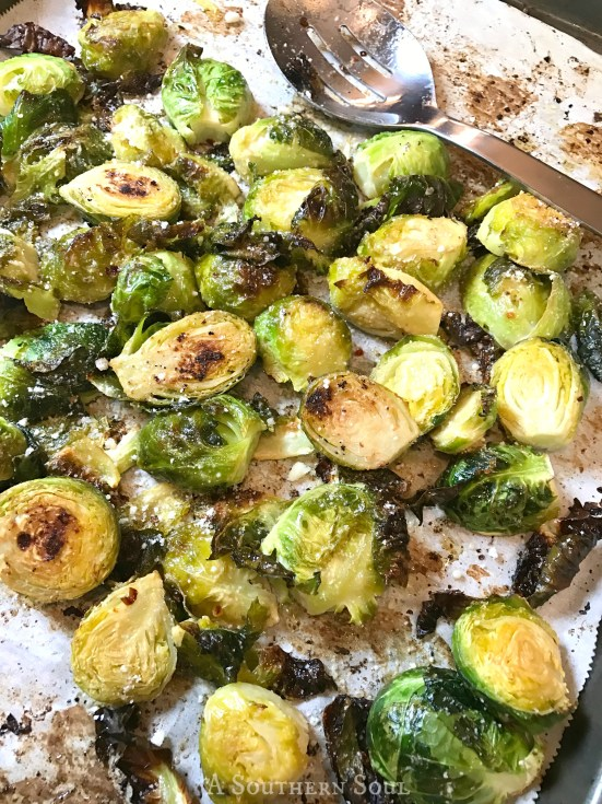 roasted brussel sprouts with lemon and parmesan