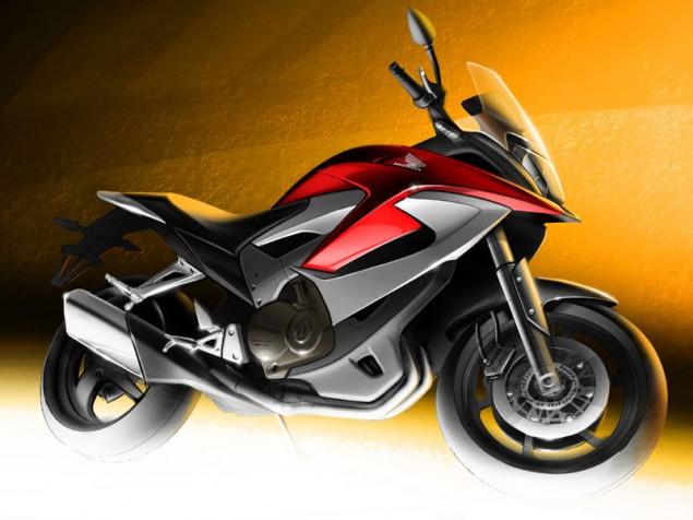 Honda Teases Last Sketch of Its V4 Adventure Bike Honda V4 Adventure teaser sketch EICMA 635x476