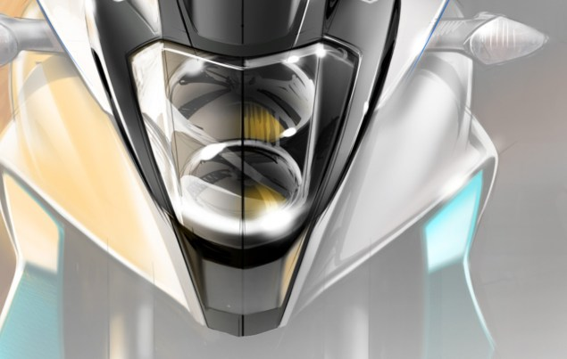 Honda Releases Another V4 Adventure Concept Teaser Honda VFR adventure front sketch 1 635x403