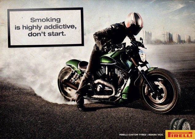 Caution: Smoking May be Hazardous to Your Health  Pirelli tire smoking ad Italy 3 635x453