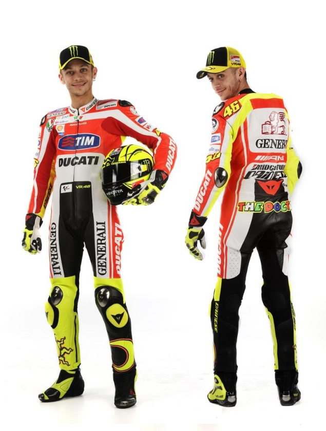 Valentino Rossi All Dressed Up for Work at Ducati Corse – Finally Talks on the Ducati Desmosedici GP11 Valentino Rossi Ducati Corse Leathers colors1 635x839