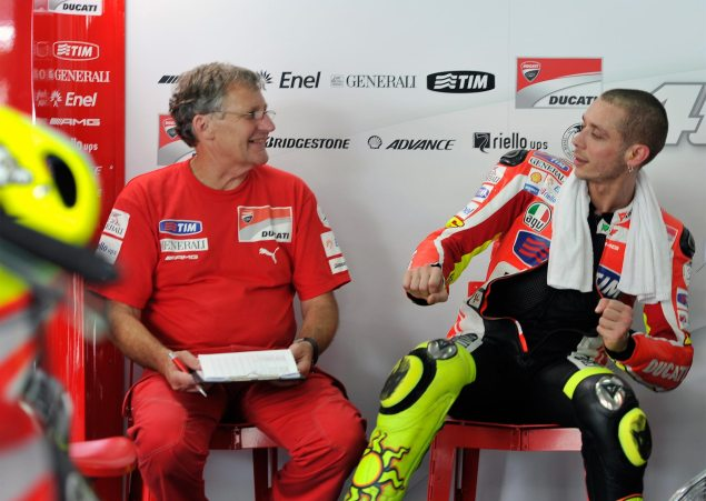 Caption This Photo: The Secret Origin of the Funky Chicken Ducati Corse Valentino Rossi Jeremy Burgess Pitbox Sepang test 635x451