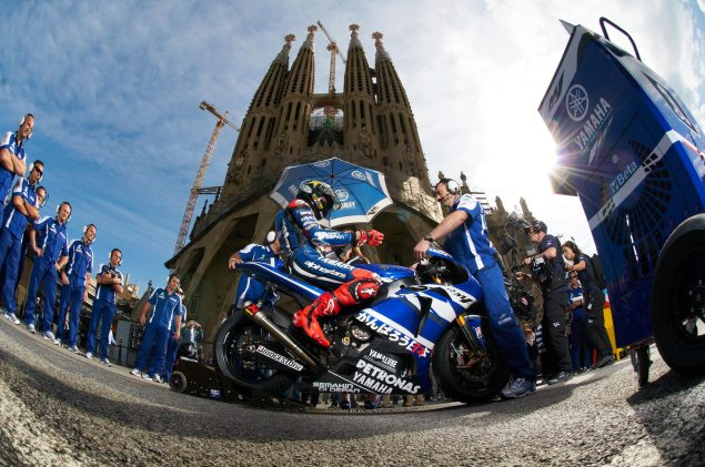 MotoGPs Guerrilla Marketing on the Streets of Barcelona Yamaha Racing guerrilla marketing Sagrada Familia 2 635x421
