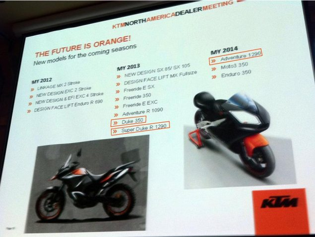 LEAKED: KTM 2012 2014 Product Road Map KTM product road map 2012 2013 2014 635x477
