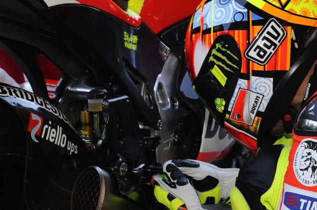 Rossi Rides with an Aluminum Perimeter Frame at Valencia While Hayden Sits Out the Test with a Broken Wrist Ducati Desmosedici GP12 aluminum perimeter frame 635x421