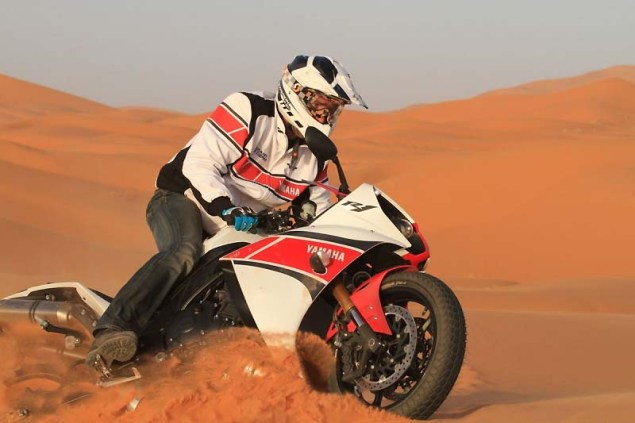 Yamahas 180hp Adventure Bike is Our Kind of Crazy Yamaha YZF R1 sand dunes 10 635x423