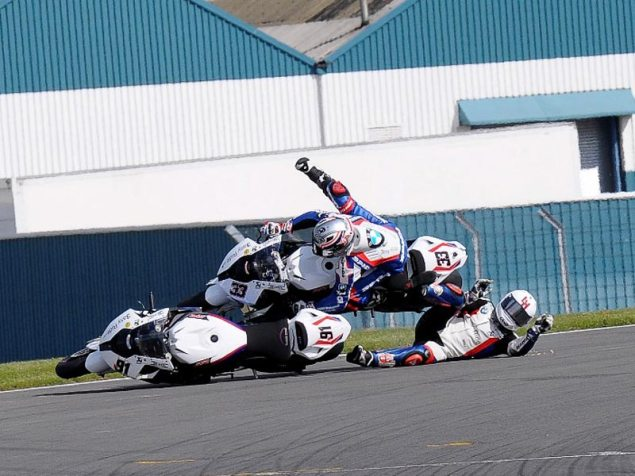 Photo: Five   Two = Podium Leon Haslam Marco Melandri WSBK crash Donington Park 635x476