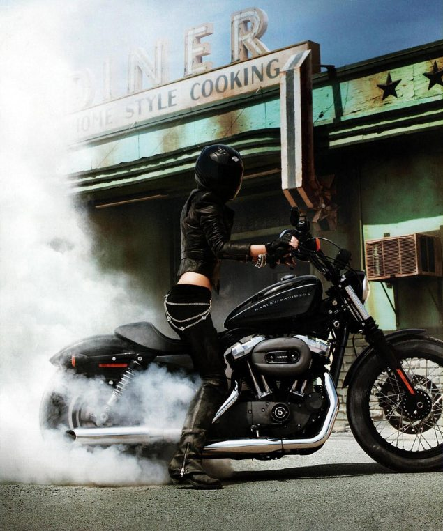 Do You Have 1st Amendment Right to Do a Burnout? Marisa Miller Harley Davidson burnout ad 635x762