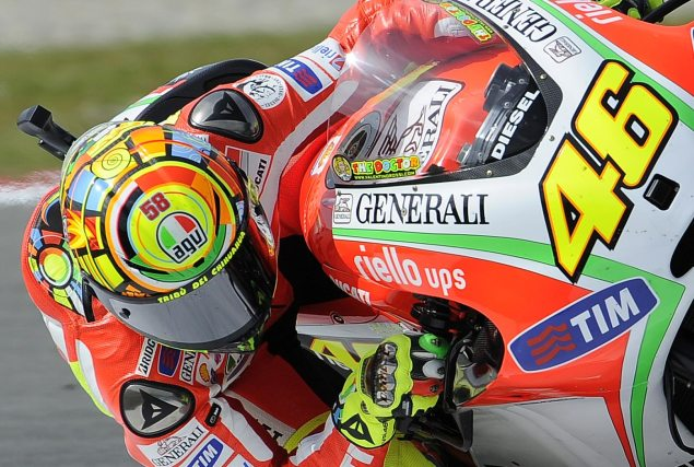 Friday Summary at Assen: Of Tricky Surfaces, Fast Riders, & Career Choices Valentino Rossi Ducati Corse Assen 635x427