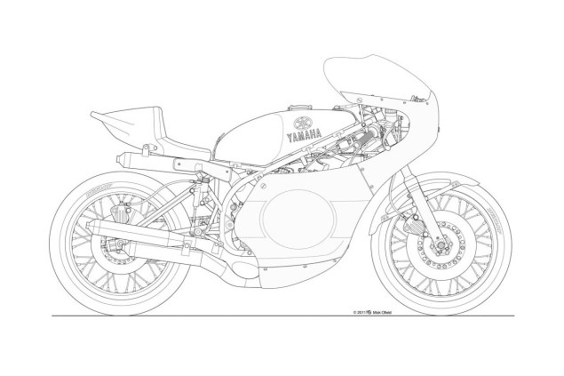 banter classic motorcycle line art drawings