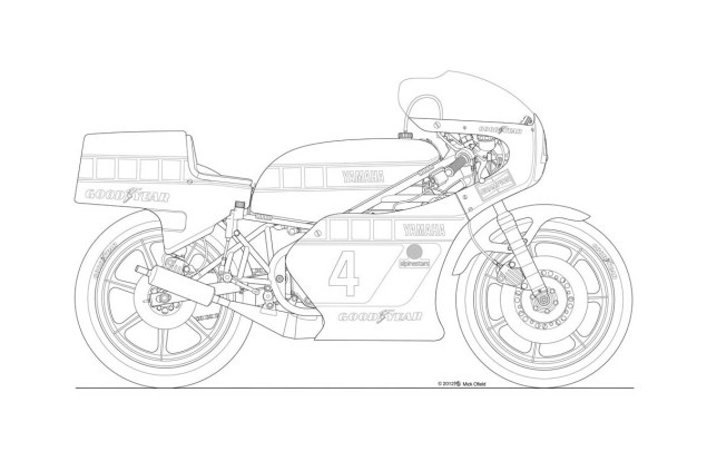 Photos: Some Classic Motorcycle Line Art Drawings Motorcycle line drawing 04 635x423