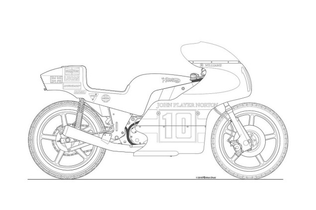 Photos: Some Classic Motorcycle Line Art Drawings Motorcycle line drawing 07 635x423