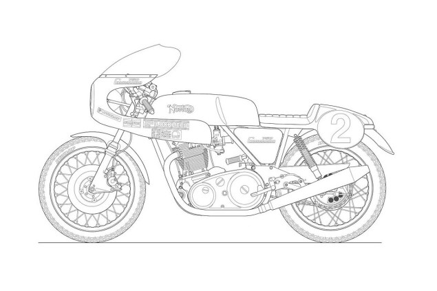 Photos: Some Classic Motorcycle Line Art Drawings Motorcycle line drawing 08 635x423