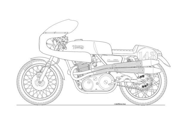 Photos: Some Classic Motorcycle Line Art Drawings Motorcycle line drawing 09 635x423