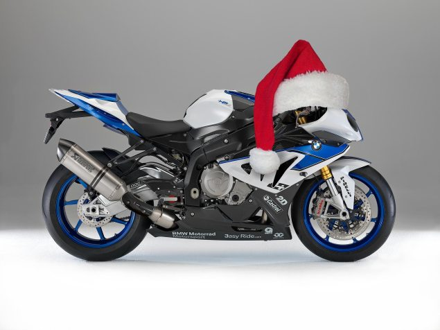 Happy Holidays from Asphalt & Rubber bmw hp4 santa hat 635x476