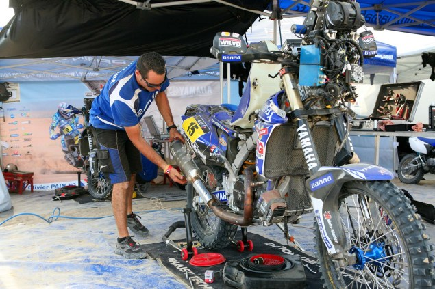 Dakar Rally   Stage 6: Yamaha Leads KTM into Chile Dakar Rally Yamaha Pit 635x423