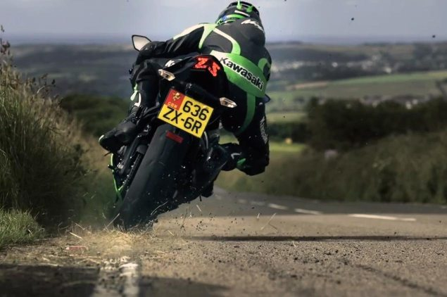 Filming the Kawasaki ZX 6R Commercial at the Isle of Man  Kawasaki Ninja ZX 6R James Hillier Isle of Man commercial 635x422
