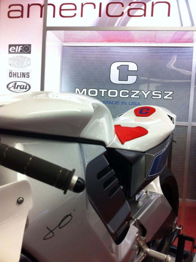 First Photos of the 2013 MotoCzysz E1pc 2013 MotoCzysz E1pc teaser 03