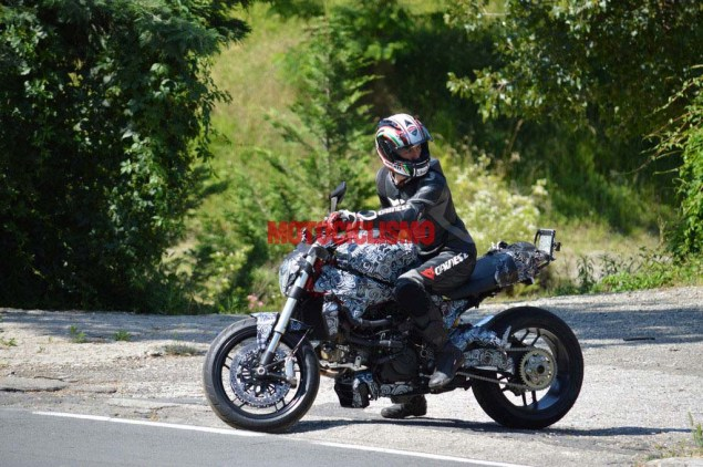 Spy Shots: A New Water Cooled 1198cc Ducati Monster? 2014 ducati monster 1198 water cooled spy photo 01
