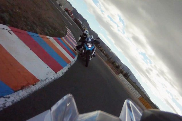 Video: BMW R1200GS vs. BMW HP4 on the Track bmw r1200gs bmw hp4 almeria spain track video 635x423