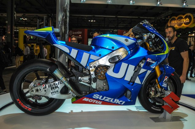 Up Close with the Suzuki XRH 1 MotoGP Race Bike Suzuki MotoGP race bike EICMA 04 635x421
