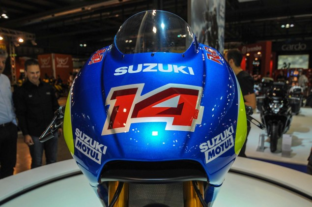 Up Close with the Suzuki XRH 1 MotoGP Race Bike Suzuki MotoGP race bike EICMA 09 635x421