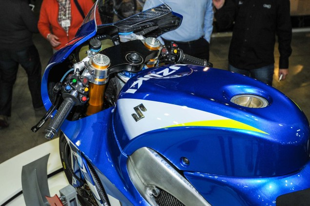 Up Close with the Suzuki XRH 1 MotoGP Race Bike Suzuki MotoGP race bike EICMA 14 635x421
