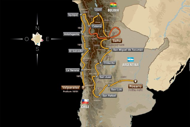 Are You Ready for the 2014 Dakar Rally? 2014 dakar rally race map 635x425