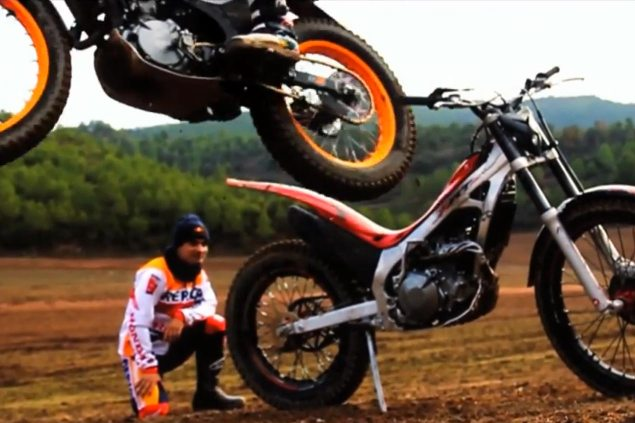 Marc Marquez and Dani Pedrosa Go Trials Riding with Toni Bou and Takahisa Fujinami dani pedrosa marc marquez trials repsol 635x423