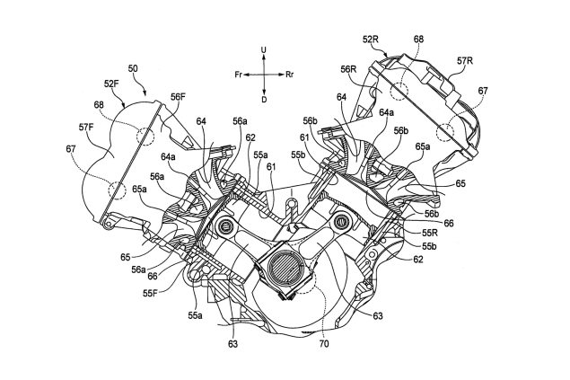 Honda V4 Superbike Engine Outed in Patent Photos honda v4 engine patent drawing 635x423