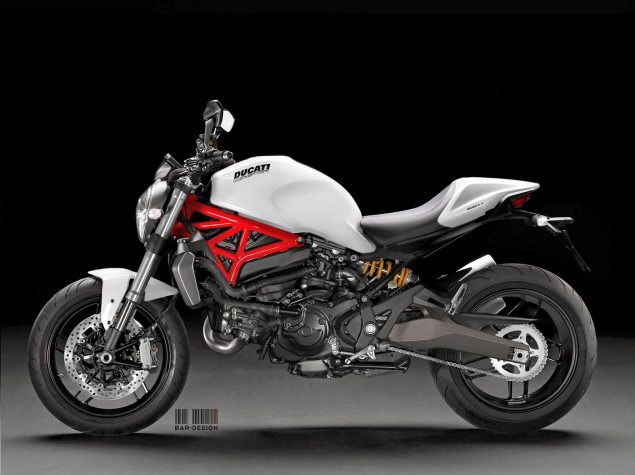 This Is Pretty Much What the Monster 800 Will Look Like 2015 Ducati Monster 800 Luca Bar Design white 635x475
