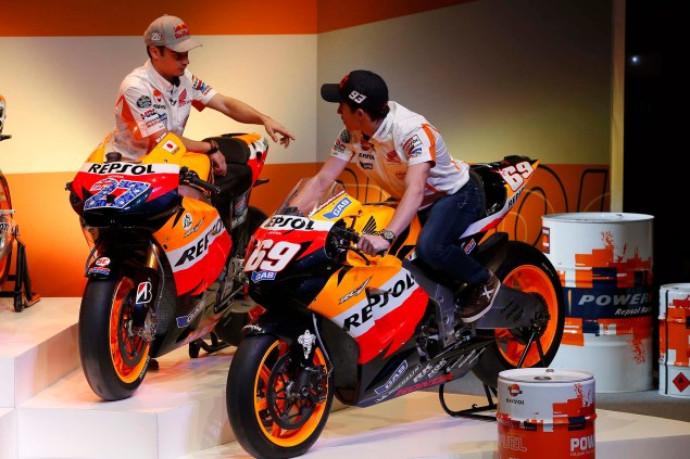 Watch Marc Marquez & Dani Pedrosa Kick the Tires on the Repsol Honda GP Bikes of Yesteryear Marc Marquez Dani Pedrosa Repsol Honda GP Bikes 03 635x423