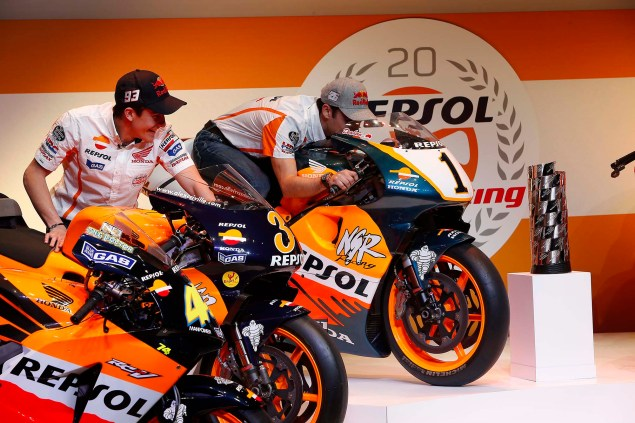 Watch Marc Marquez & Dani Pedrosa Kick the Tires on the Repsol Honda GP Bikes of Yesteryear Marc Marquez Dani Pedrosa Repsol Honda GP Bikes 06 635x423