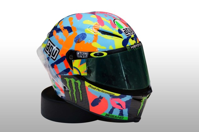 Photos: Valentino Rossis Special Misano Helmet, 2014 Valentino Rossi AGV Pista helmet Misano 04 635x423