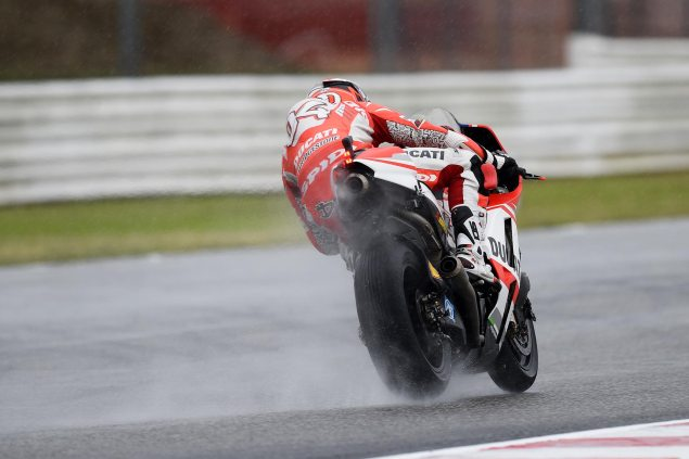 Friday Summary at Misano: Wet Weather, A Terrible Surface, & A Raft of Rider Announcements andrea dovizioso ducati corse misano friday 635x423