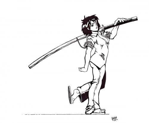 Nodachi Girl (ink)
