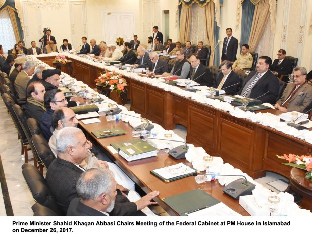 Prime Minister Shahid Khaqan Abbasi Chairs Meeting of the Federal Cabinet at PM House in Islamabad on December 26, 2017.